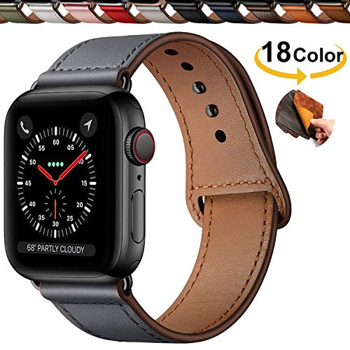 Qeei Compatible with Apple Watch 42mm 44mm,Innovative Cinturino in Vera Pelle Covert Buckle Ensure Clean Fit Band Replacment for iWatch Series 5 4/3/2/1,Dark Grey