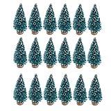 SUNREEK 24 Piezas Artificial Mini Navidad Sisal Nieve árboles de la Botella, Base de Madera, Pinceles de plástico para árboles de Navidad decoración del hogar