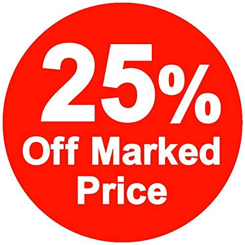 % Off Marked Price Stickers, 25%, 45mm, Red, 50000