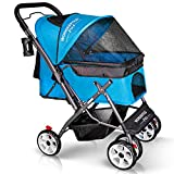 WONDERFOLD P1 Folding Pet Stroller Wagon for Dogs/Cats with 4 Wheels, Zipperless Entry, Storage Basket, and Cup Holder (Aqua Blue)