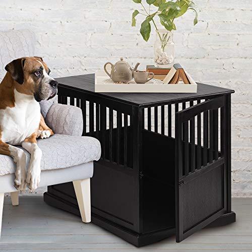 Black 36 Dog Crate Large Table Kennel Decorative Wood End Table Indoor Furniture Hidden Enclosure Modern Durable