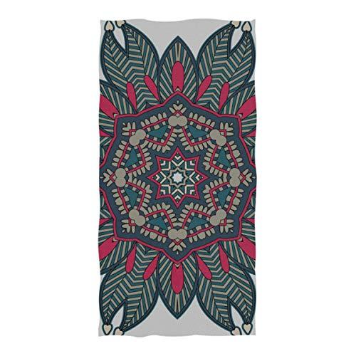 LINPM Toallas de Piscina y Playa, Mandala para Colorear Ornamento de círculo Oriental Tamaño Extra Grande (74 × 37 in) Toalla de Piscina de Viaje súper Absorbente, de Secado rápido y compacta