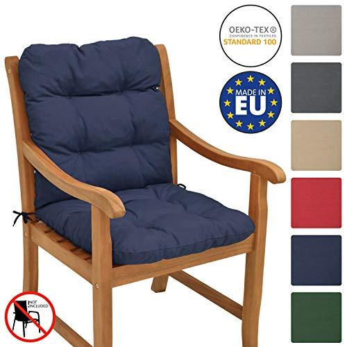 Beautissu Cojín para sillas de balcón Flair NL - Cojín para Asiento Exterior con Respaldo bajo - 100x50x8 cm - Relleno de Copos de gomaespuma - Azul Oscuro
