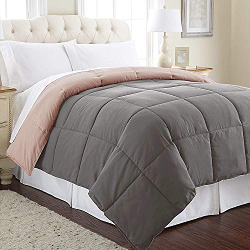 Amrapur Overseas Down Alternative Microfiber Quilted Reversible Comforter/Duvet Insert Ultra Soft Hypoallergenic Bedding-Medium Warmth for All Seasons, Twin, Charcoal/Misty Rose