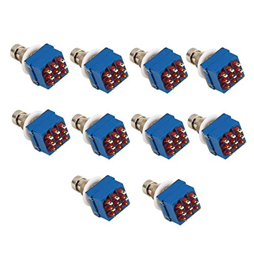 JVSISM 10 Stücke 3Pdt 9 Pins Box Stampfen Gitarre Effekt Pedal Fu? Schalter True Bypass Metall Silber + Blau