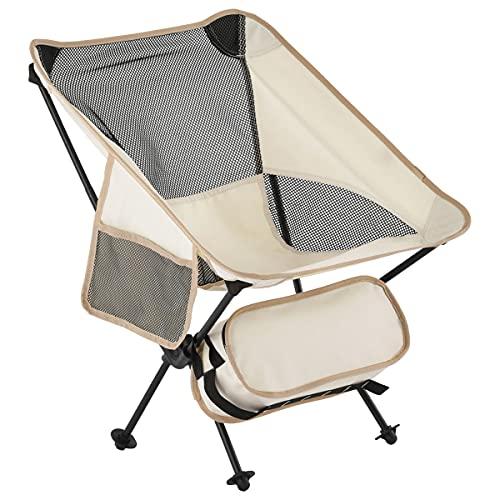 ぼん家具 アウトドアチェア 折りたたみ ローバック キャンプ 椅子 軽量 コンパクト チェア メッシュ サイドポケット 収納バック付き アイボリー