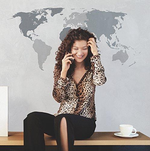 Komar - Deco-Sticker WORLD - 50 x 70 cm - Muurtattoo, Muurschildering Muursticker, Muursticker, Walltattoo, Wereldkaart, Kaart, Landkaart, Wereld -17021h