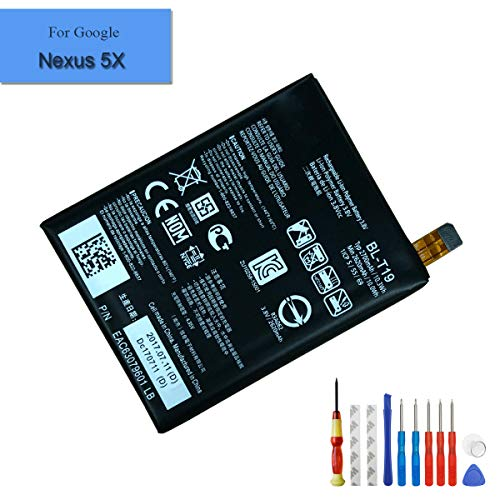 E-yiiviil BL-T19 Li-ion Replacement AKKU kompatibel für Google Nexus 5X H791 H790 2620mAh 3.8V with Installation Tools