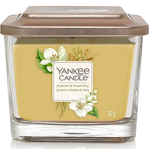 Yankee Candle candela profumata media a 3 stoppini | Gelsomino e pagliaio | Durata della fragranza: fino a 38 ore | Elevation Collection con coperchio utilizzabile come base