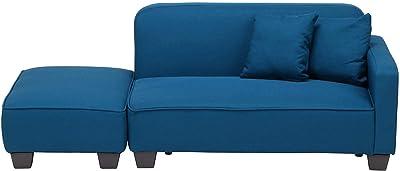 不二貿易 ソファ 2人掛け 組み合わせ自由 ソファーベッド クッション付き オットマン ブルー 59209