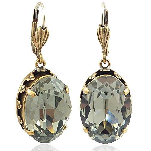 Jugendstil Ohrringe mit Kristallen von Swarovski® Grau Gold NOBEL SCHMUCK