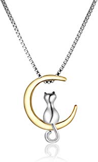 Meou & Moi Cat Moon Necklace Two-Tone 18K Gold and Solid Silver Plated