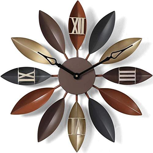 Reloj de pared grande de metal para sala de estar, reloj de pared silencioso nórdico decorativo de hoja retro estilo vintage decoración de arte 55 cm (color: B)-C