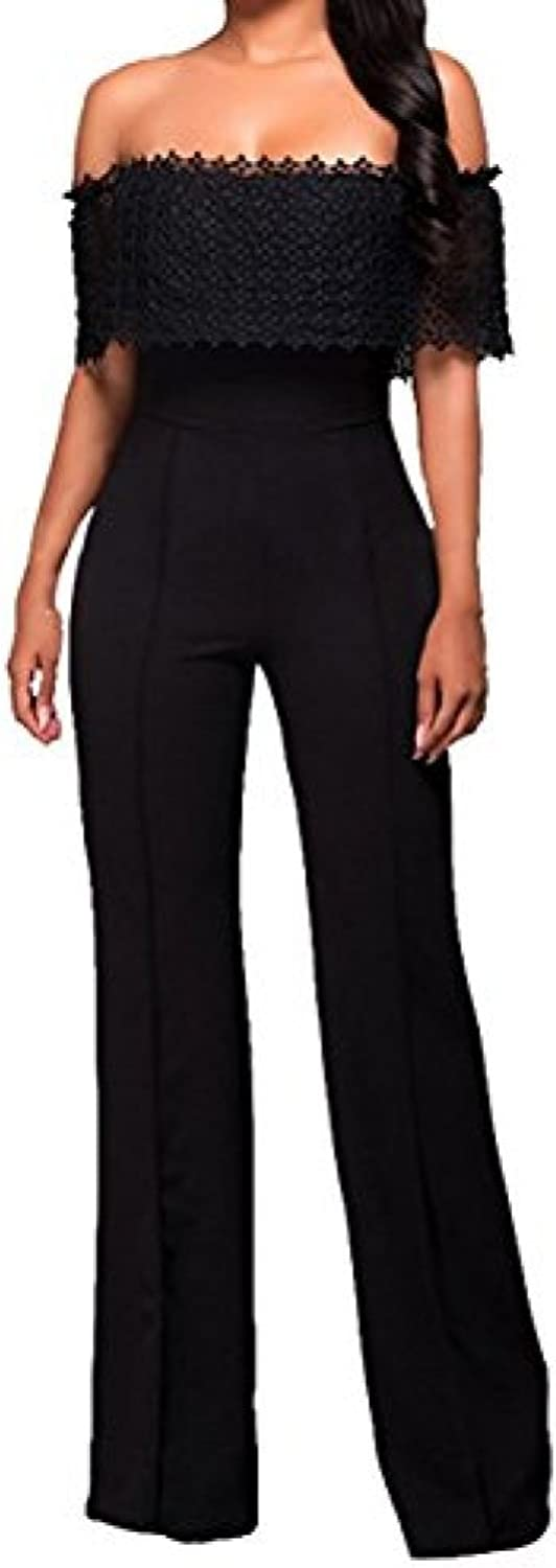 Halfword Womens Sexy Off Shoulder High Waisted Long Wide Leg Jumpsuits Rompers