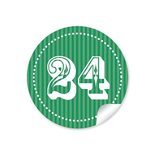 72 stickers: doe-het-zelf adventskalendercijfers voor een DIY adventskalender papieren zakken om zelf te knutselen 1-24 • formaat 4 cm, rond, mat donkergroen