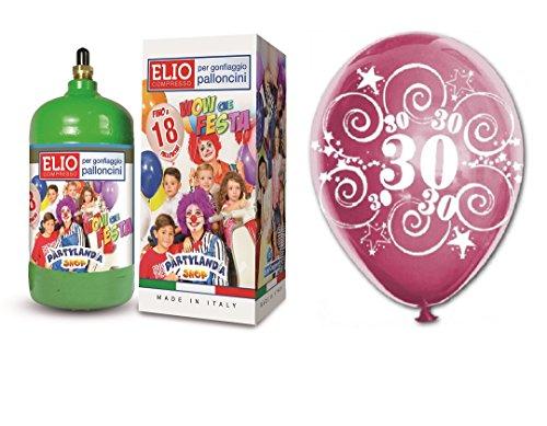 Flasche Helium Gas 1,2+ 12fliegende Luftballons 30Geburtstag 30Jahre