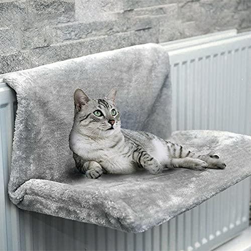 Shoplifemore Hammack - Cama de radiador de lujo, para colgar en invierno, cálida cesta de forro polar, hamacas de metal, marco de hierro, cama para dormir para gatos (gris)