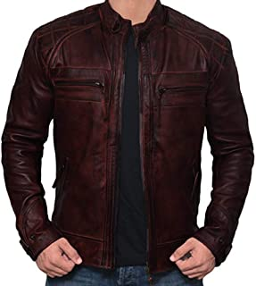 Mens Leather Jackets Motorcycle Bomber Biker Real Lambskin Leather Jacket for Men