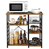 Yaheetech Baker's Rack Industrial Kitchen Island Microwave Storage Rack with Metal Mesh Basket Shelves and 6 Hooks 90X39X84cm