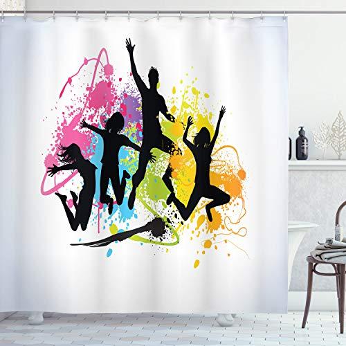 ABAKUHAUS Juventud Cortina de Baño, Saltos Adolescentes Pintura de Ae
