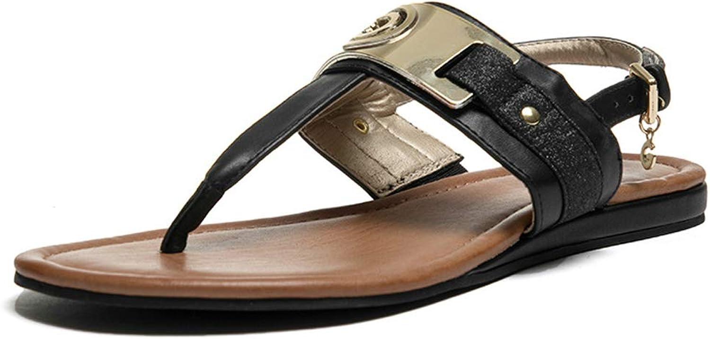 Women Summer Sandal Peep Toe Sandals, Elegant Ladies Comfy Platform Flat Sandal shoes Summer Beach Travel shoes,Black,6.5US