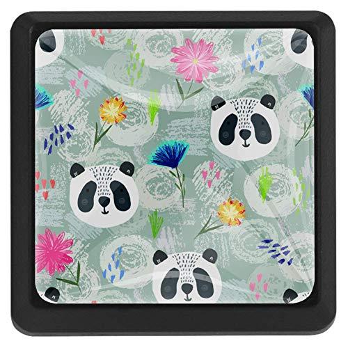 Tiradores de cajón de cristal transparente con diseño de panda de dibujos animados y lunares coloridos [3 piezas] para armarios, cajones, armarios con tornillos para cocina, aparador, armario, cuarto de baño, armario