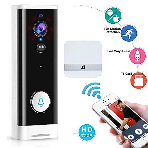 M-TOP Funk-Türsprechanlage mit Video Übertragung, Doorbell Camera Wireless WiFi, Video Türklingel WLAN Monitor 1080p HD Bewegungsmelder mit PIR-Bewegungserkennung, IR Nachtsicht VideoWhite