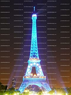 1/4 - Eiffel Tower Cool Blue Lights Birthday - Edible Cake/Cupcake Topper