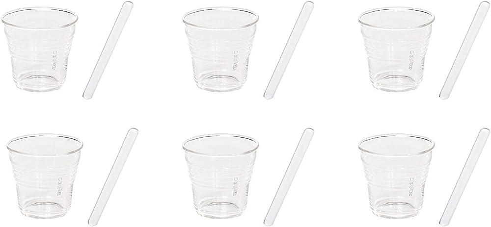 Seletti, set. 6 bicchierini da caffe`, in vetro Ø cm.5,8 h.5,2 + palette 10655KIT