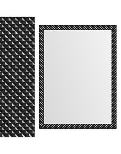 Zwarte wandspiegel met geometrische vormen, modern design.