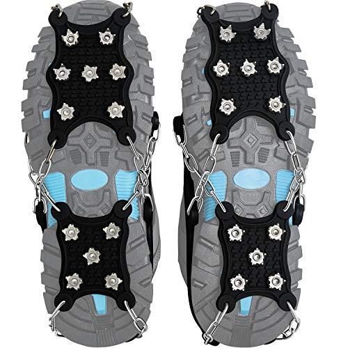 Steigeisen Schuhspikes mit 12 Noppen,Das einzig Innovative Design bei Amazon,Ice Klampen,Eisspikes für Den Stiefel,Schuhkralle. (X-Large)
