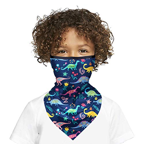Kids Balaclava Face Mask with Ear Loops, Kids Neck Gaiter Tube Mask for UV Protection Blue Dinosaurs