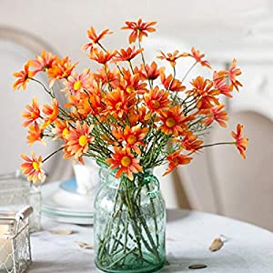Artificial and Dried Flower 5 Bunches Cosmos Small Daisy Artificial Flowers Silk Fake Flowers Home Decor Flower Decoration Valentine Spring Decoration – ( Color: Five Orange Sticks)