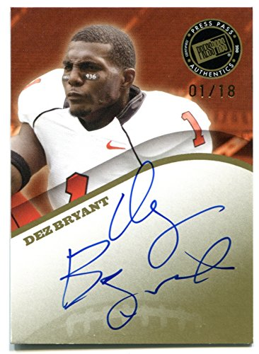 Dez Bryant Press Pass Draft Class RC #WM-DB 2010 Auto GOLD #1/18 Dallas Cowboys Rookie Football Trading Card