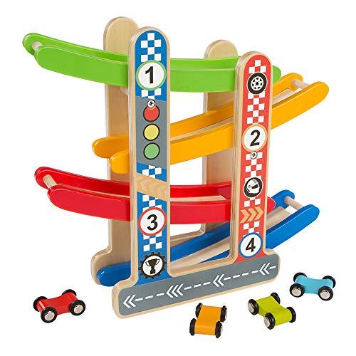 WOOMAX - Circuito coches madera ColorBaby 46215
