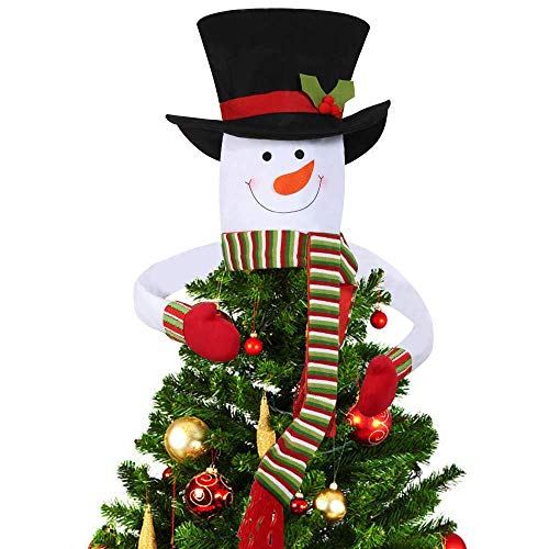 DegGod Christmas Tree Topper, Snowman Top Hat Hugger for Xmas Tree Decoration (Large)