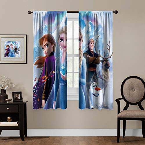 Blackout Curtains,Anna Elsa Olaf Sven (9), Rod Pocket Thermal Insulated Darkening Window Drapes for Bedroom, Cute Animal Boys Girls Room Décor, 2 Panels,55x63 inch