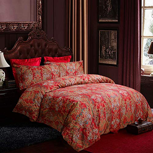 Satbuy Luxury Bohemian Retro Boho Bedding King 3 Pcs 100% Egyptian Cotton Paisley Damask Pattern Duvet Covers red and Gold 1000 Thread Count Super Soft Hypoallergenic