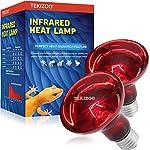 TEKIZOO Infrared Heat lamp Basking Spot Light Red Bulb for Reptile and Amphibian Pet 100W(2 Pack)