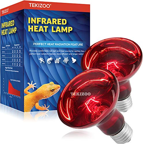 TEKIZOO Infrared Heat lamp Basking Spot Light Red Bulb for Reptile and Amphibian Pet 50W(2 Pack)