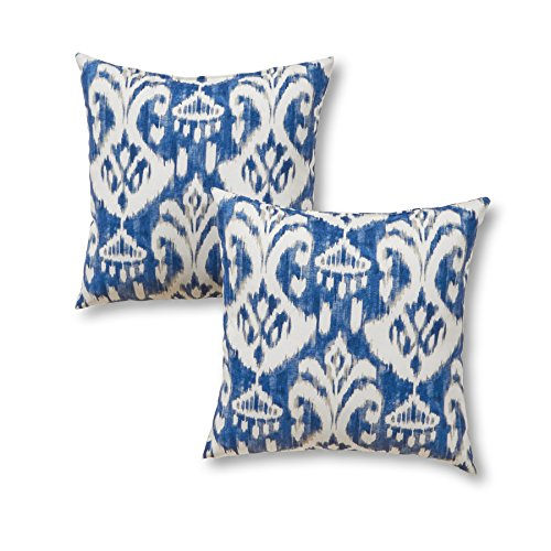 """Greendale Home Fashions 17"""" Outdoor Accent Pillows in Coastal Ikat (Set of 2), Azule"""