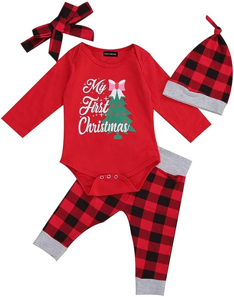 Aoliandatong Baby It's My First Christmas Plaid Romper Pants Headband Cap 4 Pcs Set