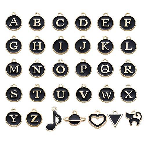 Craftdady - 26 ciondoli smaltati a forma di alfabeto dalla A alla Z, con 25 ciondoli misti a forma di cuore, pianeta e gatto con note galleggianti per gioielli artigianali