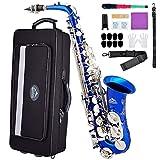 Eastrock Alto Saxophone Eb E-Flat, Instrument à Vent Laqué Doré, pour étudiants et Débutants. Livré avec Coffret, Embouchure et Tapis, Outils de Nettoyage, Chiffon à Alcool, Bleu avec Clé Nickel
