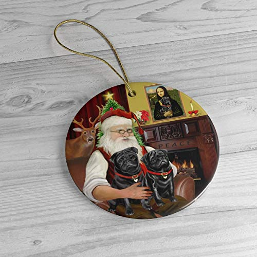 PotteLove Santa At Home with His Two Black Pugs Heirloom Ceramic Ornament,Custom with Any Name And Date Porcelain Ornament
