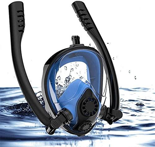 Goggles Mascara Buceo Máscara de Buceo Face Full Scuba Snorkel Máscara de Buceo Doble Tubo Gafas de natación con Soporte de cámara para Snorkeling (Size : L/XL)