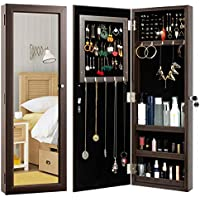 HollyHome Wall Door Mounted Jewelry Cabinet with Mirror