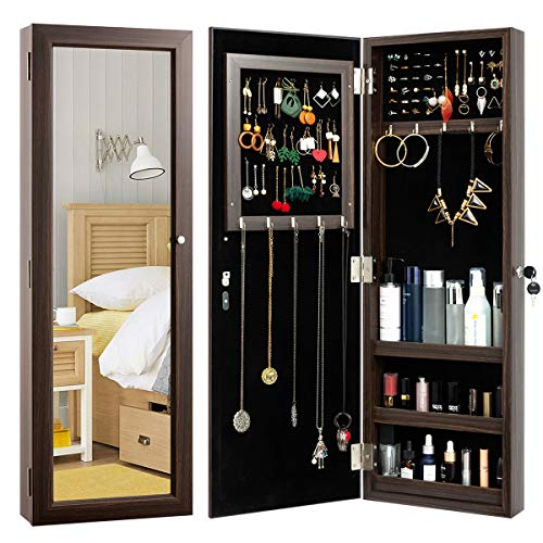 HollyHOME Mirrored Jewelry Cabinet Lockable Wall Door Mounted Jewelry Armoire Organizer with Full Length Mirror Space Saving LockableBrown