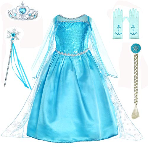 Princess Dress Up Costumes for Little Girls Birthday Party with Wig,Crown,Mace,Gloves Accessories 9-10 Years
