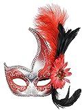 Maschera veneziana con piume e laccetto, per feste in maschera Red